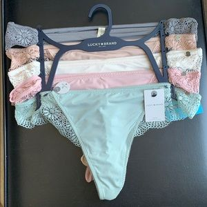 5 Pair Sexy  Lucky Brand lace accent thongs. NWT